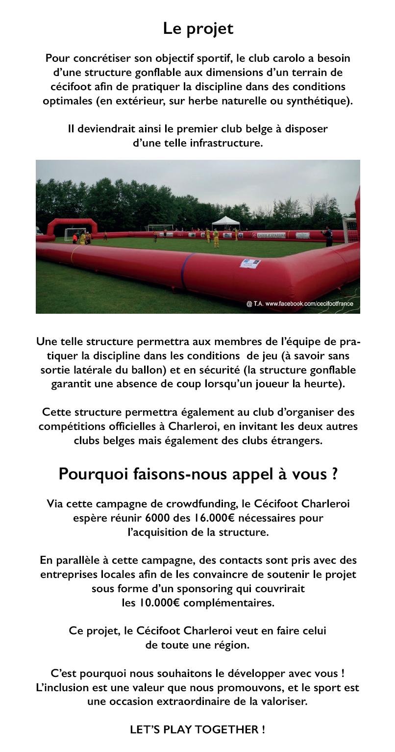 Cécifoot Charleroi - Infrastructure pour handi-sportifs de haut niveau